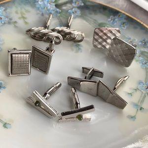 Vintage silver tone cufflinks 5 pairs